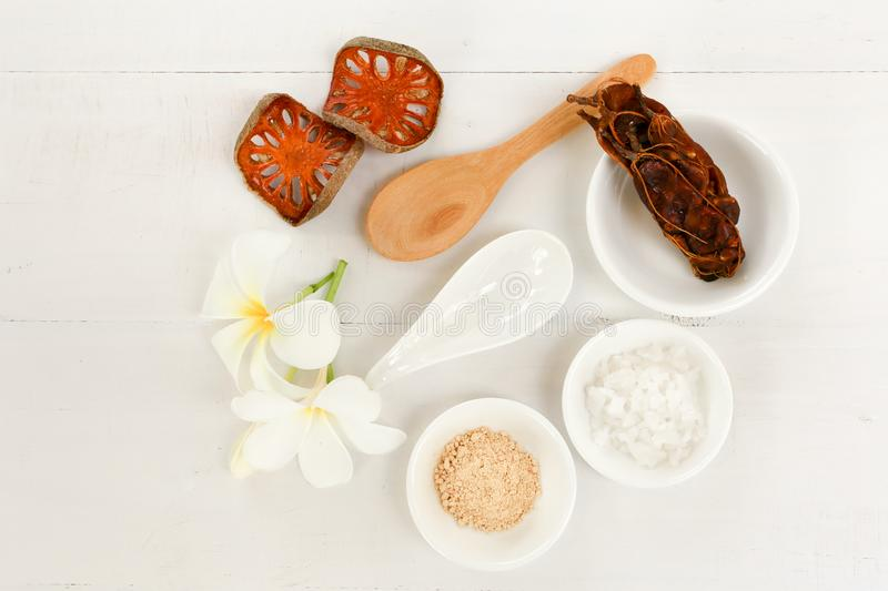 Top view - spa composition with Thai herb on white desk royalty free stock photography