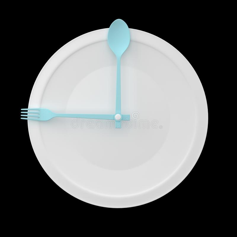 Top view of Spoon and fork on white round plate in a form of clock on black background. minimal food idea concept. for produce vector illustration