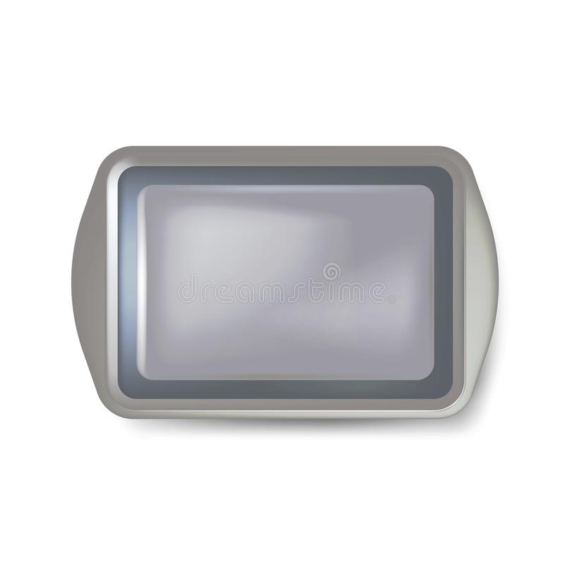 Top view of square black plate. Empty plastic tray. Metal tray salver with Handles. isolated on white background. Vector illustrat. Ion. Eps 10 vector illustration
