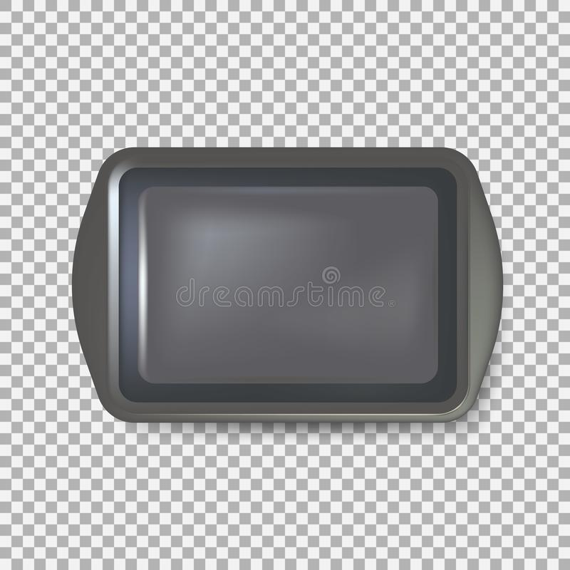 Top view of square black plate. Empty plastic tray. Metal tray salver with Handles. isolated on background. Vector illustration. Eps 10 royalty free illustration