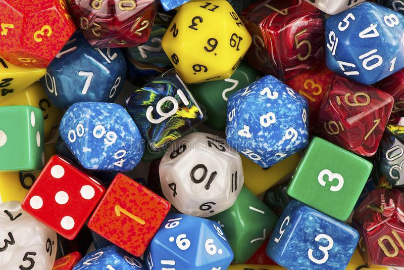 Top view on a stack of role playing game dice as abstract background. stock photo