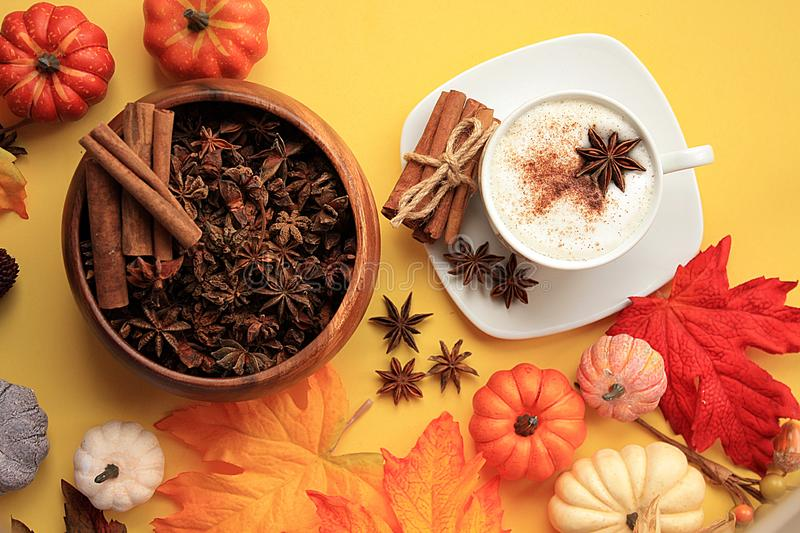 Pumpkin Spiced Coffee top view with star anise and cinnamon royalty free stock photo