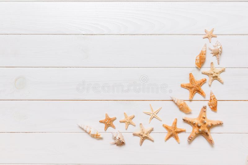 Top view of starfish and many seashells on white wood texture background top view. Copy space background, summer concept.  royalty free stock photo