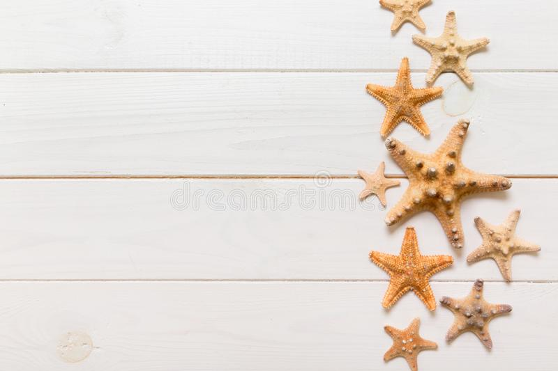 Top view of starfish and many seashells on white wood texture background top view. Copy space background, summer concept.  royalty free stock photography
