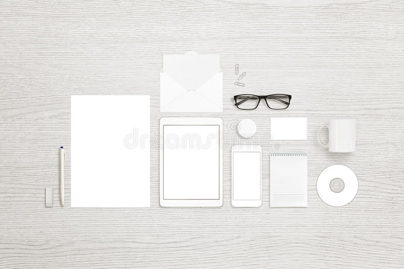 Top view of stationary objects for branding, identity design presentation royalty free stock photography