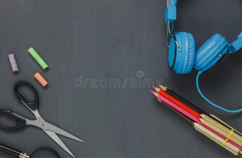 Top view stationery equipment . royalty free stock image