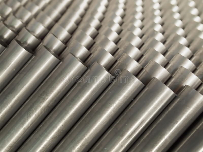 Top view of Steel Pipe. Top Close up Steel Pipe for use in directors furniture stock photography