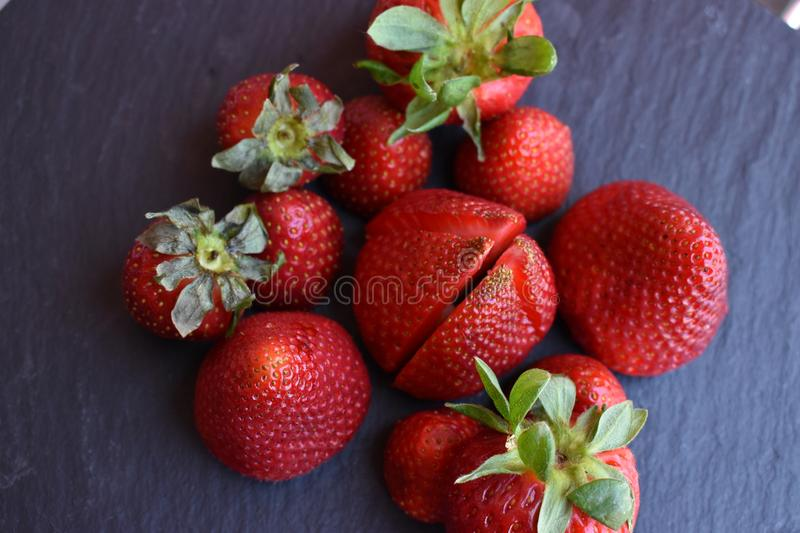 Close up top view of strawberry fruits stock image