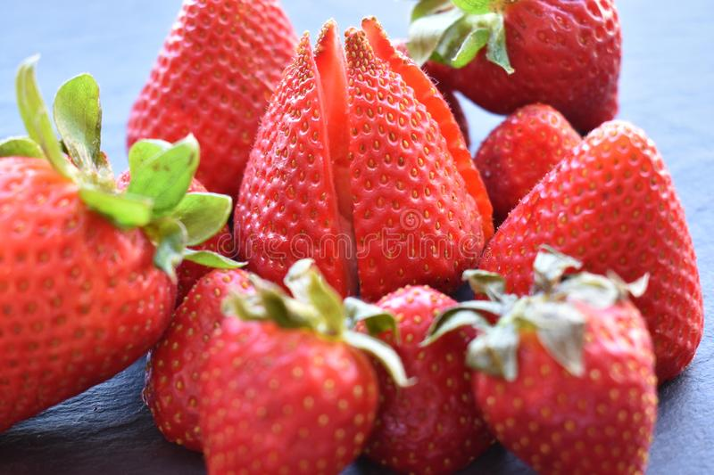 Close up top view of strawberry fruits royalty free stock photo