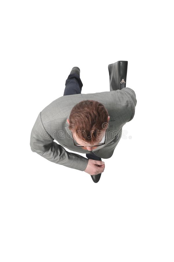 Top view. successful businessman looking somewhere ahead royalty free stock photos
