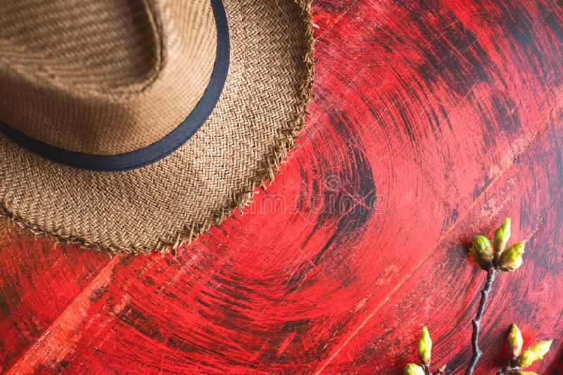 Top view of Summer brown panama straw hat with flower plant on rustic red wood table.travel concept.copy space for adding text.  royalty free stock images