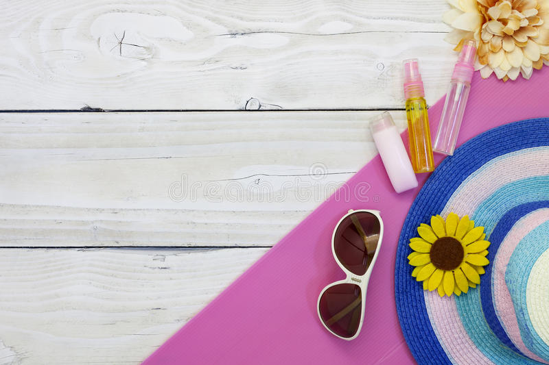 Download Top View Of Summer Holiday Background,Beach Accessories On White Stock Photo - Image of beauty, design: 84265454