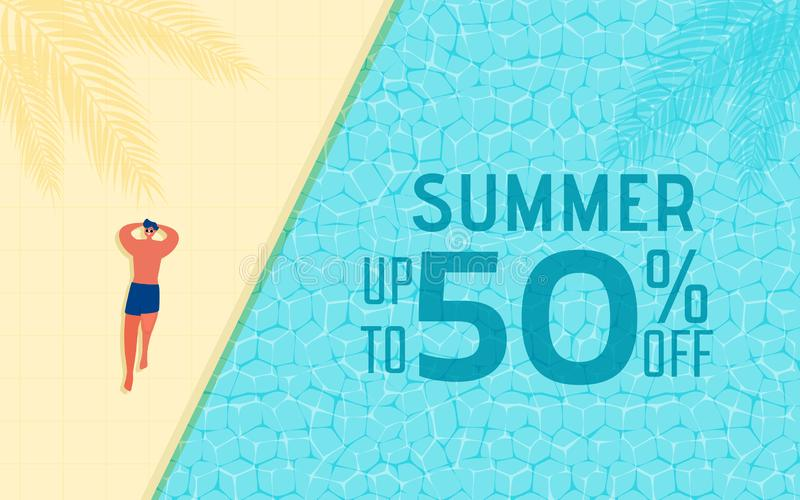 Top view of summer pool party. Summer time hot sale advertising design with man in swimming pool royalty free illustration