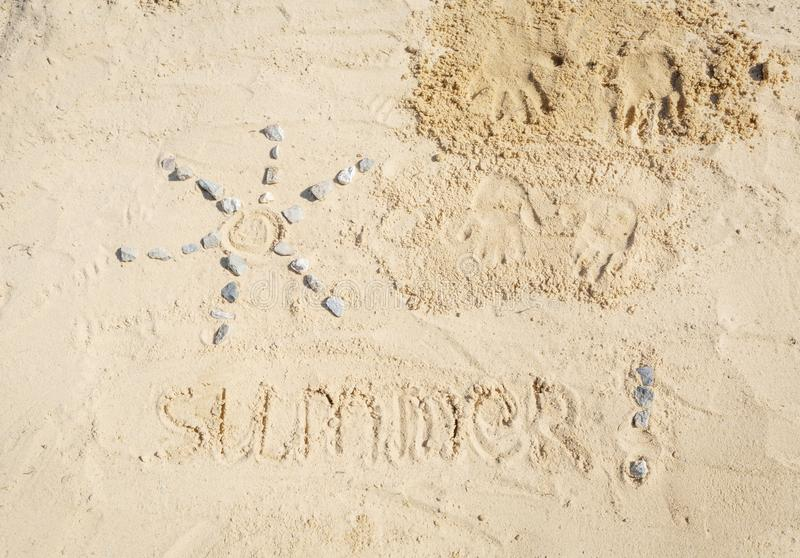 Top view of summer sand child drawing royalty free stock photos