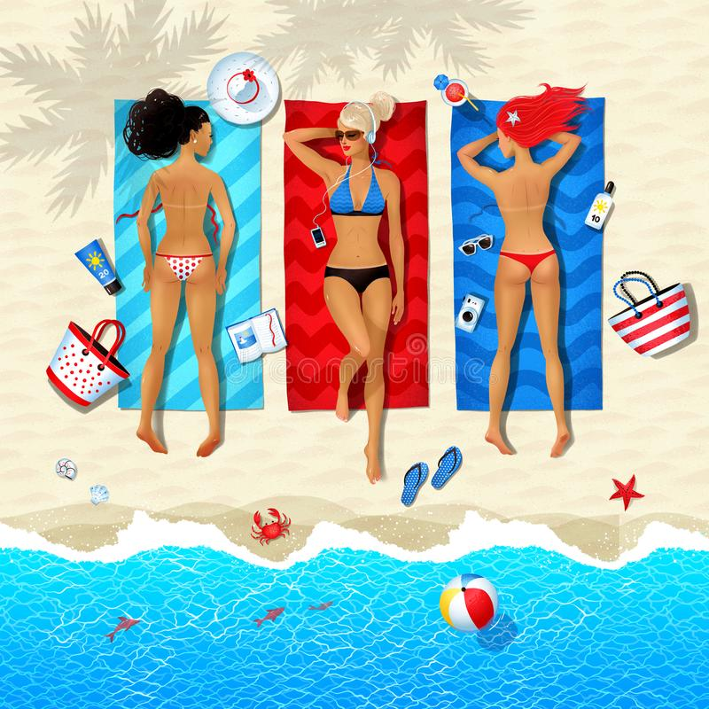 Three young women lying on beach. Top view summertime illustration of three young women lying on beach and sunbathing with summer accessories and sea surf near vector illustration
