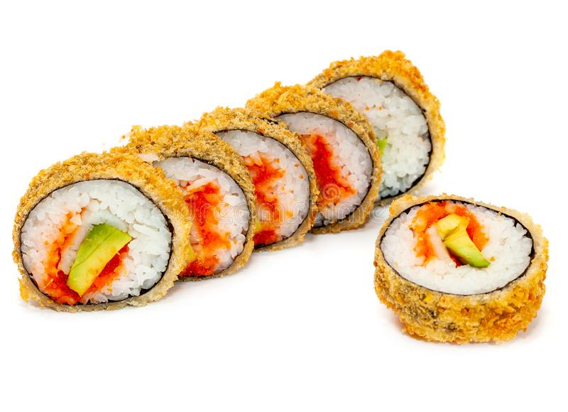 Top view on sushi set isolated over white background. Plate with rolls close-up royalty free stock images