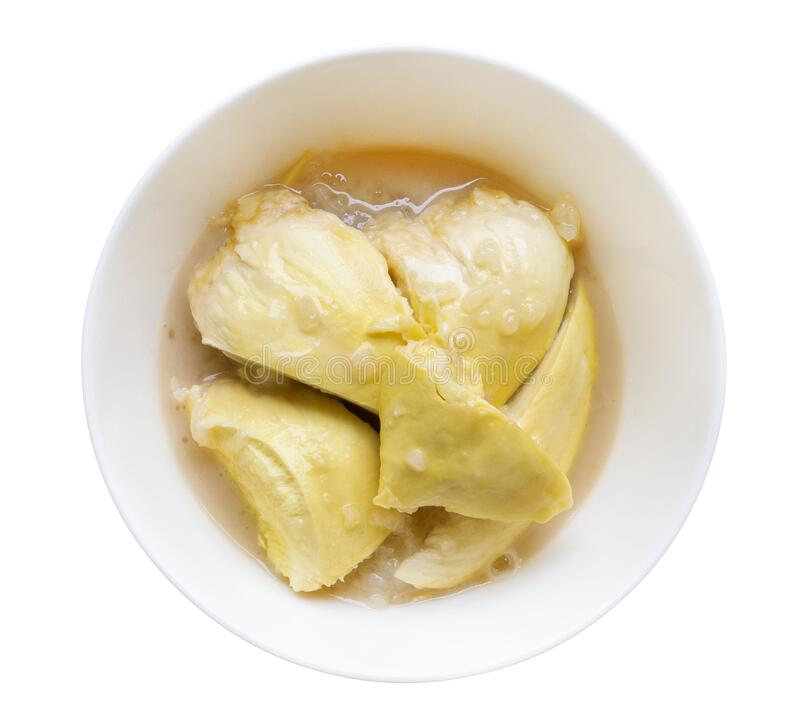 Top view sweet durian with sticky rice and coconut milk, Thai style dessert isolated on white background, clipping path. Included stock photography