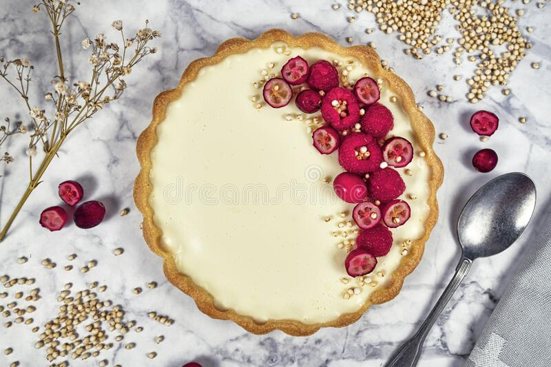 Top view of sweet tart with cheesecake cream filling topped with red raspberry  and cranberry fruits stock image