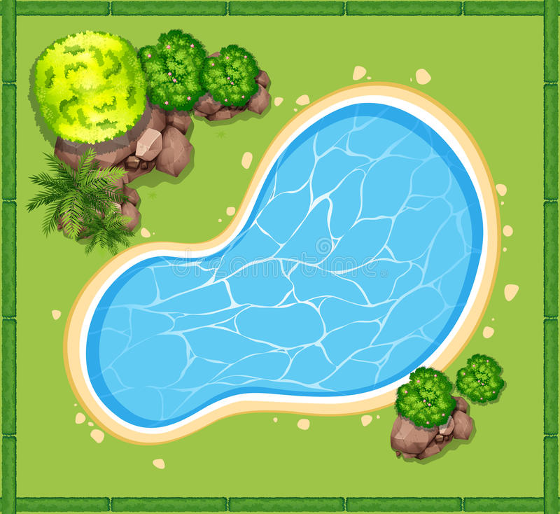 Top view of swimming pool in the garden stock vector for Garden swimming pool b q