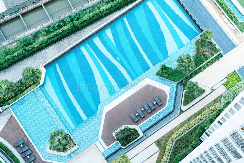 Top view of swimming pool in hotel resort. Top view of swimming pool and bed pool in hotel resort stock photography