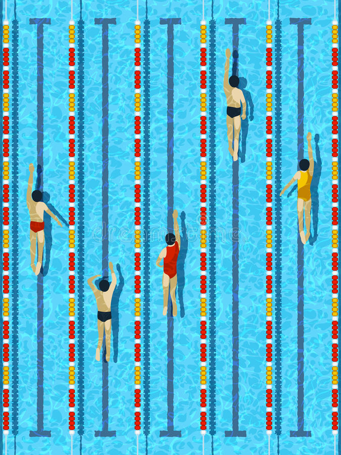 Free Top View Swimming Pool With Athlete Swimmers Vector Stock Photos - 76452443