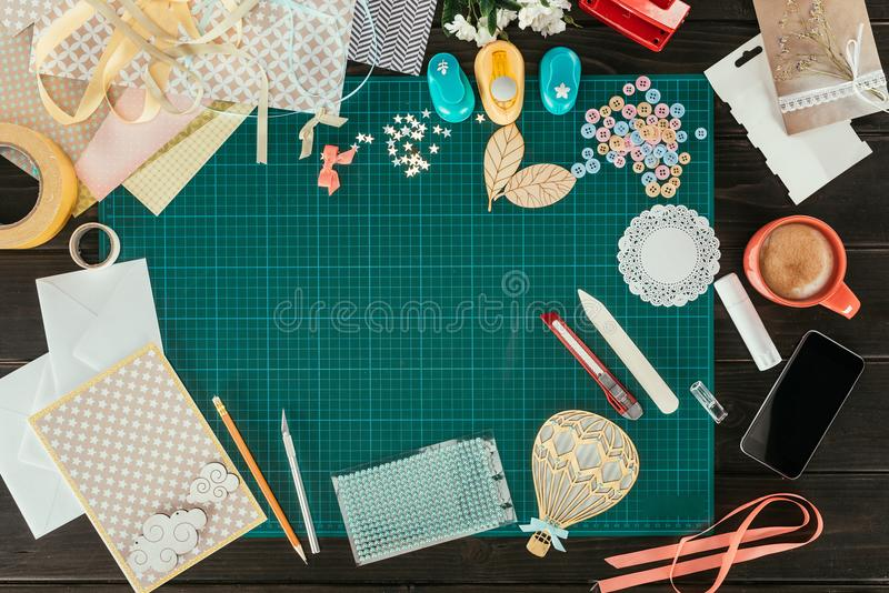 Top view of table with elements stock photo