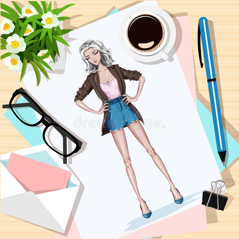 Top view of table with flowers, papers, sketch, pen, envelope and coffee cup. Paper with hand drawn fashion woman. Vector illustration vector illustration