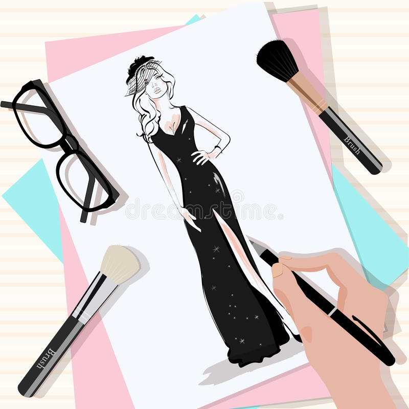 Top view of the table with papers, hand drawn fashion woman in black dress, brushes, eyeglasses and hand with pen. vector illustration
