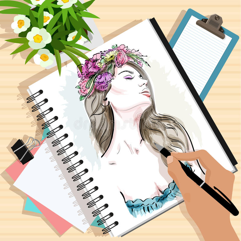 Top view of the table with papers, hand drawn fashion woman, note, flowers and hand with pen. Stylish graphic set. vector illustration