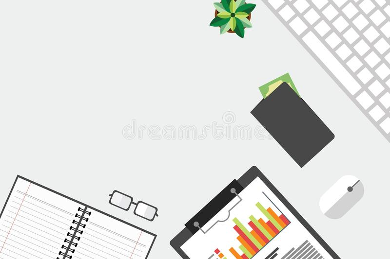 Top view of table working and working desk and free space for text with accessory on the table. Laptop, desk top, notebook, glasses, flowerpot vector illustration