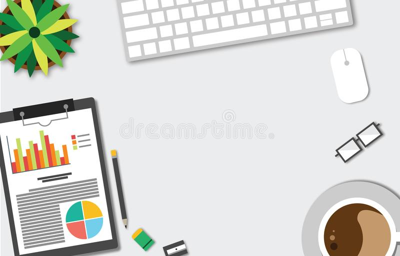 Top view of table working and working desk and free space for text with accessory on the table, laptop, notebook, phone, camera, p. Top view of table working and vector illustration