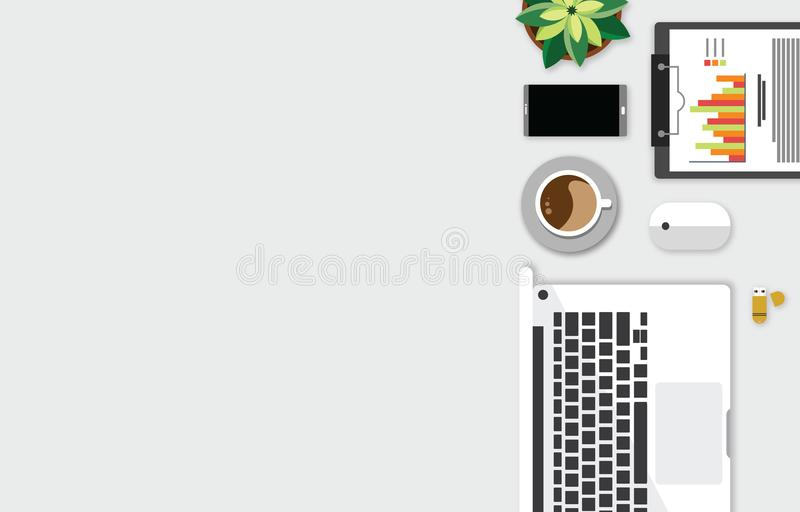 Top view of table working and working desk and free space for text with accessory on the table, laptop, notebook, phone, camera, p. Top view of table working and royalty free illustration