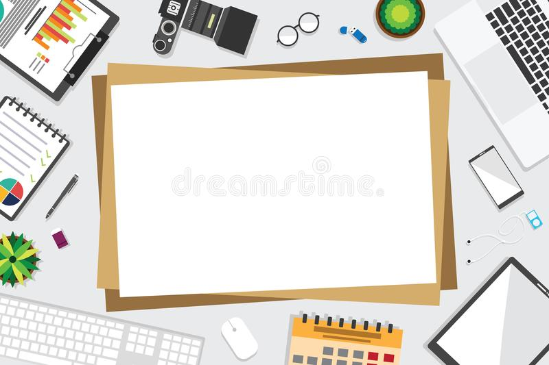 Top view of table working and working desk with gadget and free space for tex. T with accessory on the table, note, phone, keyboard, camera, pen, flowerpot vector illustration