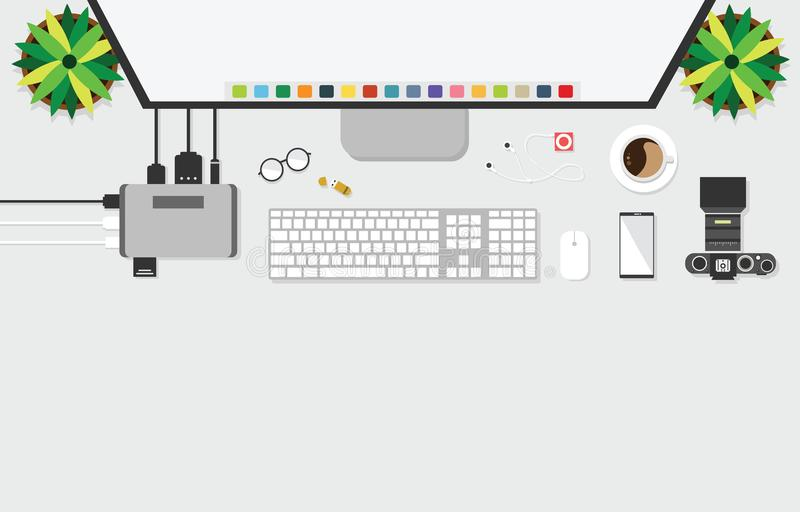 Top view of table working and working desk with gadget and free space for tex. T with accessory on the table, computer, note, keyboard, camera, pen, flowerpot royalty free illustration