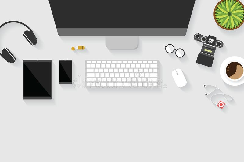 Top view of table working and working desk with gadget and free space for text with accessory on the table. Desktop, keyboard, camera, flowerpot, glasses royalty free illustration
