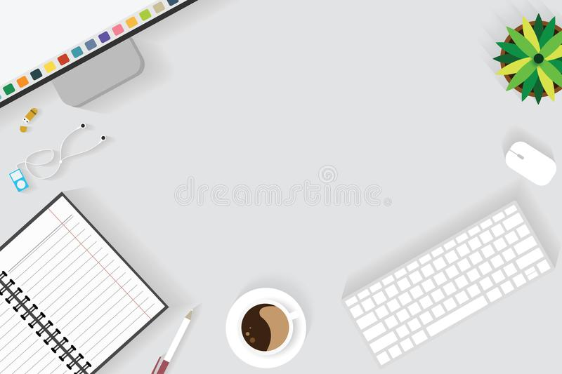 Top view of table working and working desk with gadget and free space for text with accessory on the table. Desk top, keyboard, book, pen, flowerpot and coffee stock illustration
