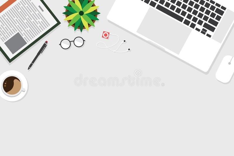 Top view of table working and working desk with gadget and free space for tex. T with accessory on the table, laptop, note, keyboard, pen, flowerpot, glasses royalty free illustration