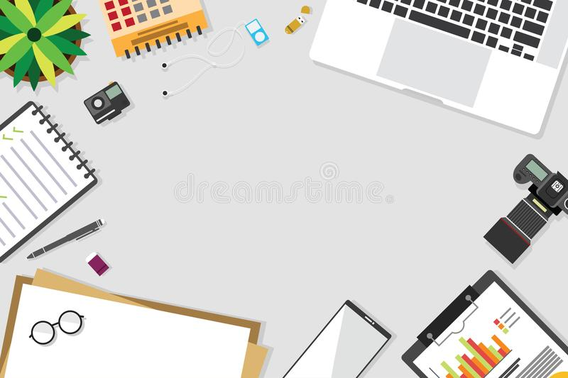 Top view of table working and working desk with gadget and free space for text. With accessory on the table, laptop, notebook, desktop, phone, flash drive stock illustration