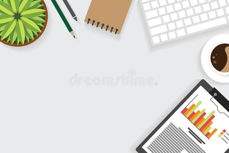 Top view of table working and working desk with gadget and free space for text with accessory on the table. Note, keyboard, pencil, flowerpot and coffee cup royalty free illustration