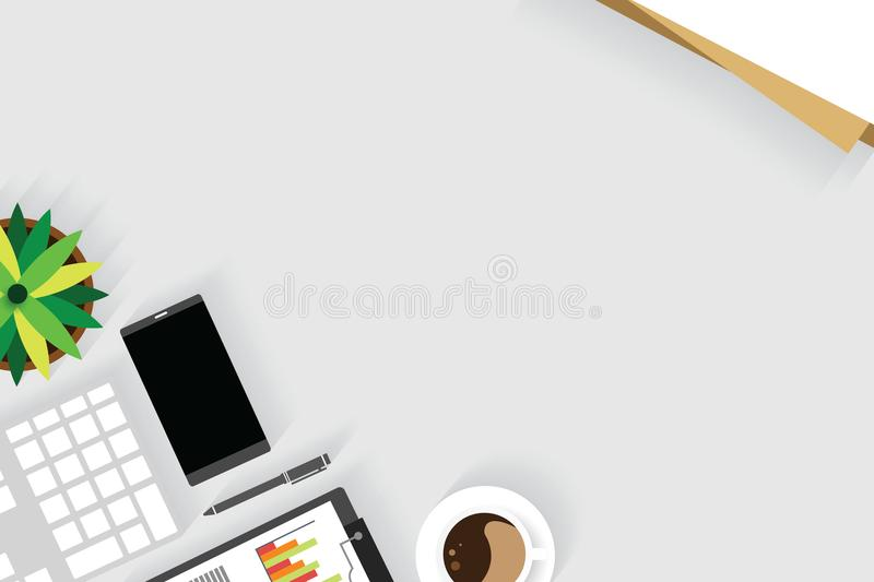 Top view of table working and working desk with gadget and free space for text with accessory on the table. Note, keyboard, pencil, phone, flowerpot and coffee vector illustration