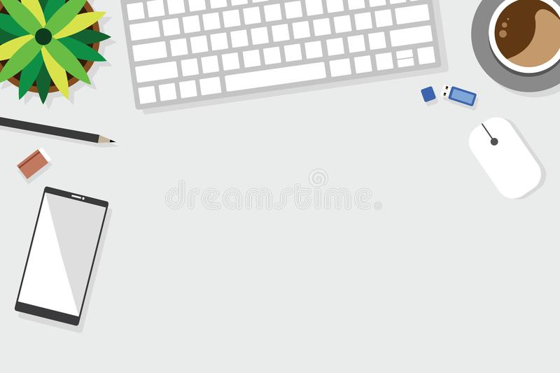 Top view of table working and working desk with gadget and free space for text. With accessory on the table, notebook, keyboard, pencil, pen, coffee cup vector illustration