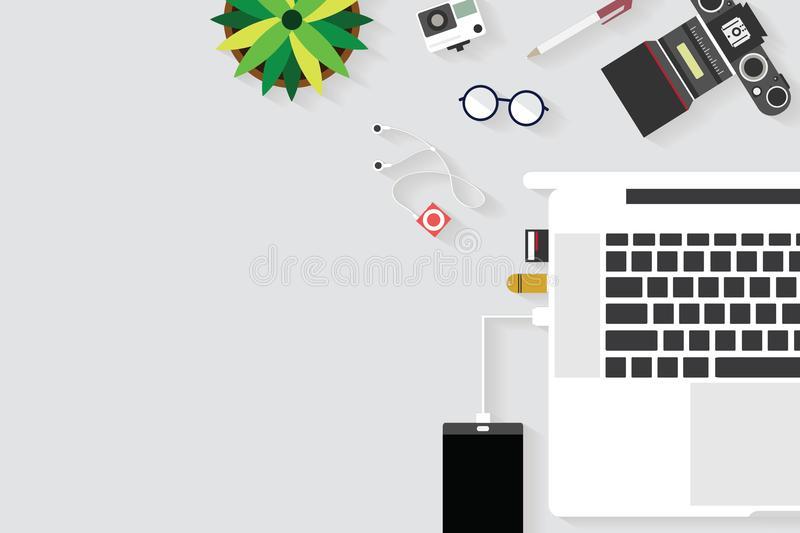 Top view of table working and working desk with gadget and free space for text with accessory. On the table, notebook, phone, camera, flowerpot, laptop, tablet vector illustration