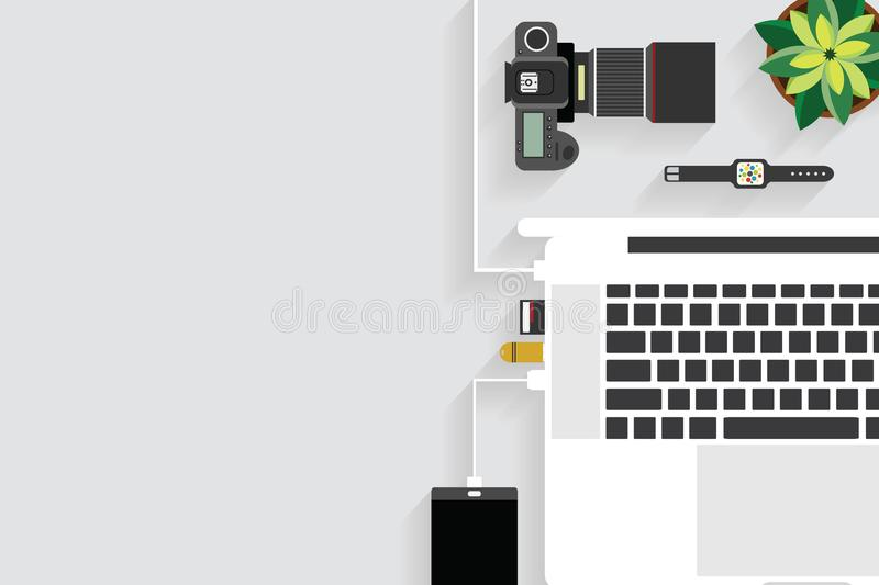 Top view of table working and working desk with gadget and free space for text with accessory. On the table, notebook, phone, coffee cup, flowerpot, laptop, pen vector illustration