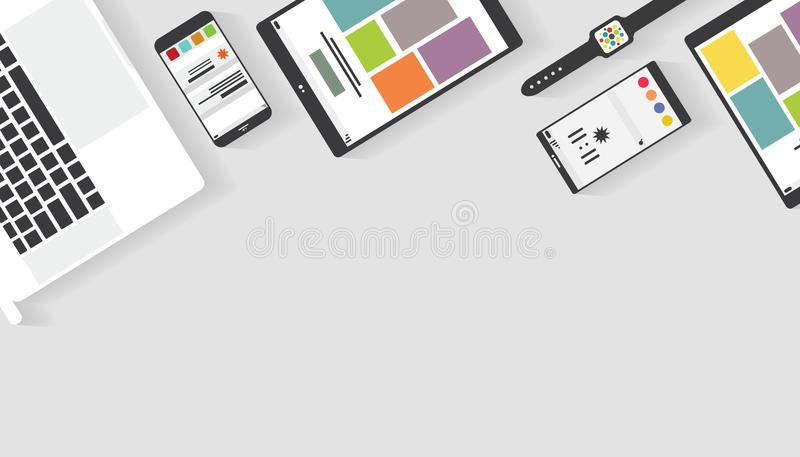 Top view of table working and working desk with gadget and free space for text with accessory. On the table, notebook, phone, laptop, tablet royalty free illustration