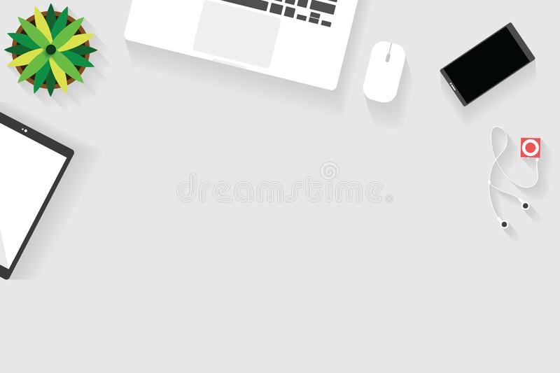 Top view of table working and working desk with gadget and free space for text with accessory on the table. Notebook, phone, laptop, tablet, flowerpot and vector illustration
