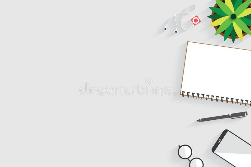 Top view of table working and working desk with gadget and free space for text with accessory on the table. Notebook, phone, pen, flowerpot, glasses royalty free illustration