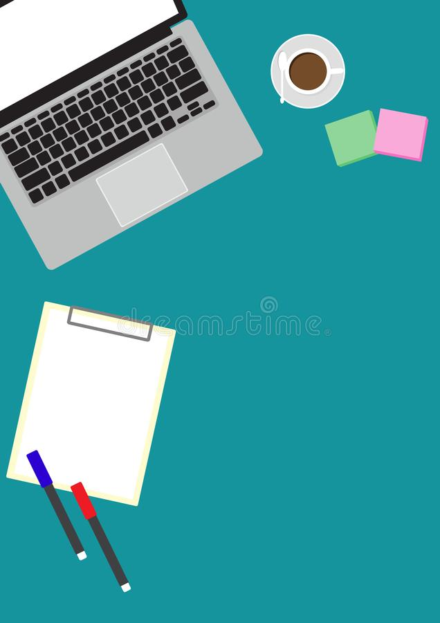 Top view of table working with gadget. And free space for text with accessory royalty free illustration