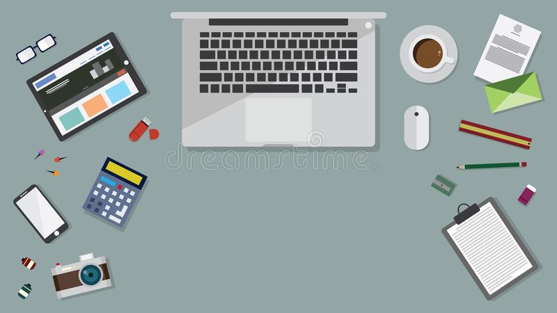 Top view of table working and working desk and free space for text with accessory on the table, laptop, desk top. Notebook, camera, pencil, pen, ruler royalty free illustration