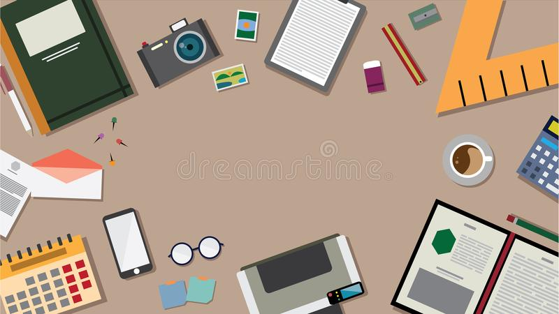 Top view of table working and working desk and free space for text with accessory on the table, laptop, desk top, notebook. Camera, pencil, pen, ruler stock illustration
