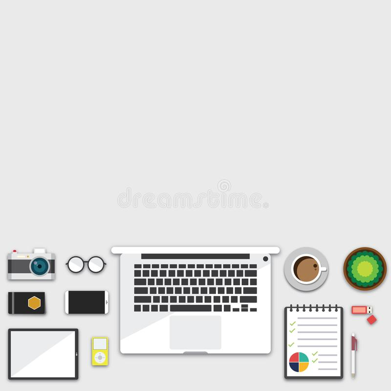 Top view of table working and working desk and free space for text with accessory on the table, laptop, notebook, phone, camera, p. En, coffee cup, glasses vector illustration